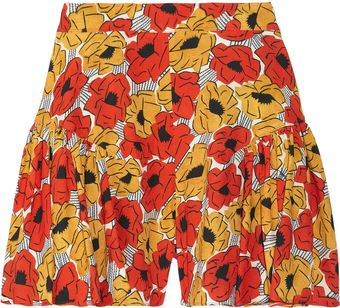 Yves Saint Laurent Poppy-print Crepe Shorts - Lyst