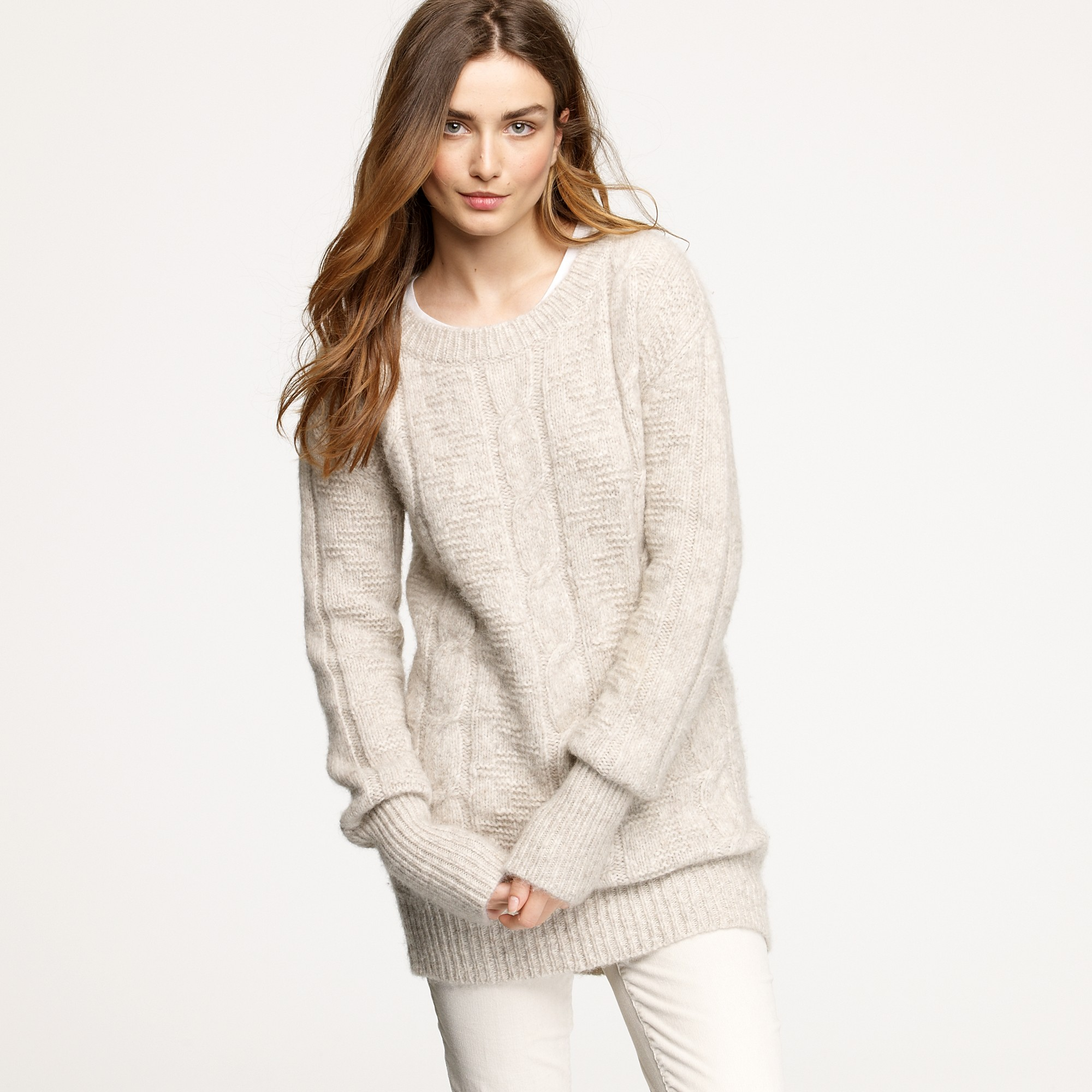 J.crew Nili Lotan® Cable Sweater in Natural | Lyst