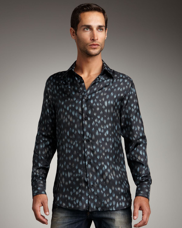 Lyst Just Cavalli Vintage Print Silk Shirt In Black For Men
