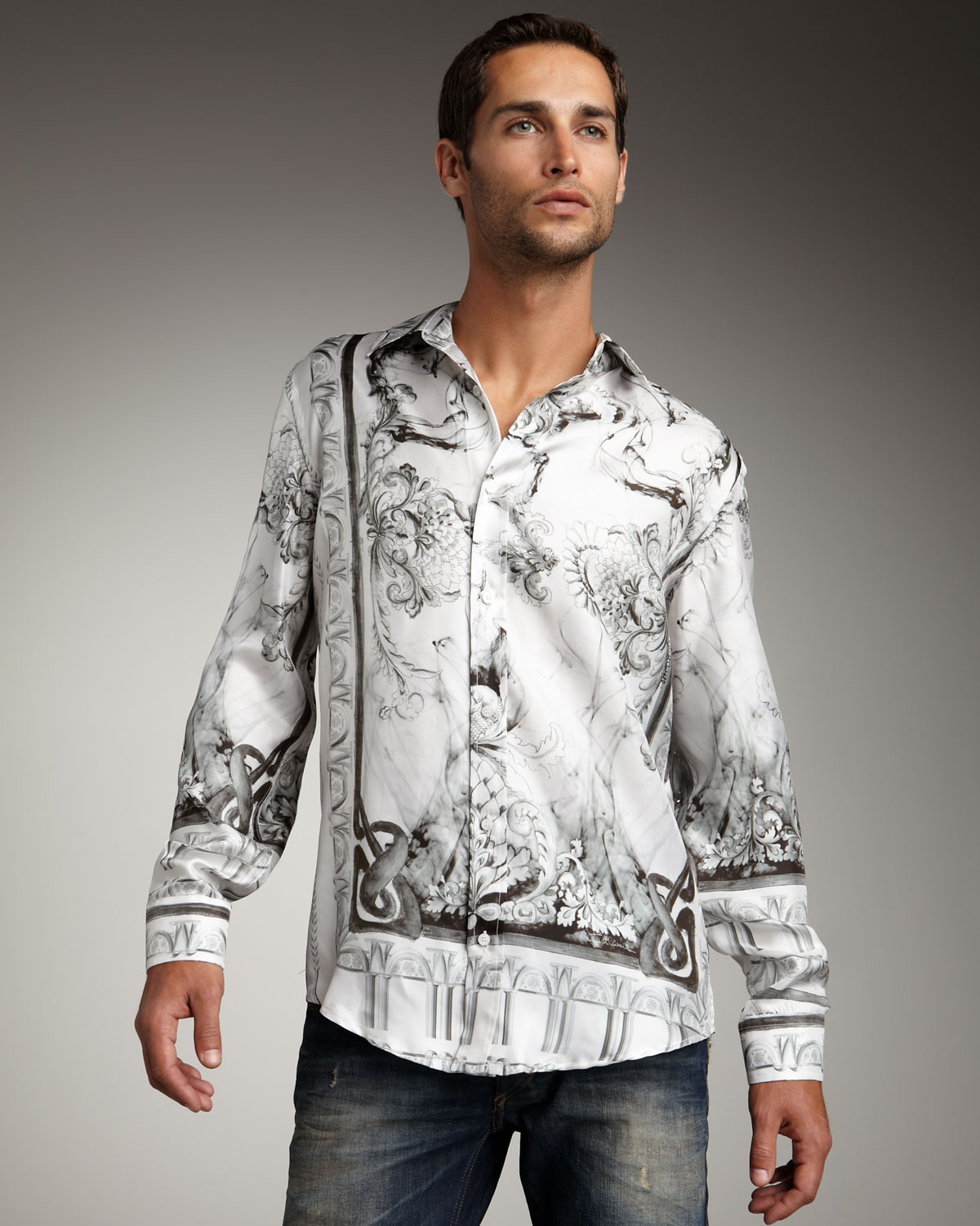 Lyst Just Cavalli Floral Print Silk Shirt In White For Men