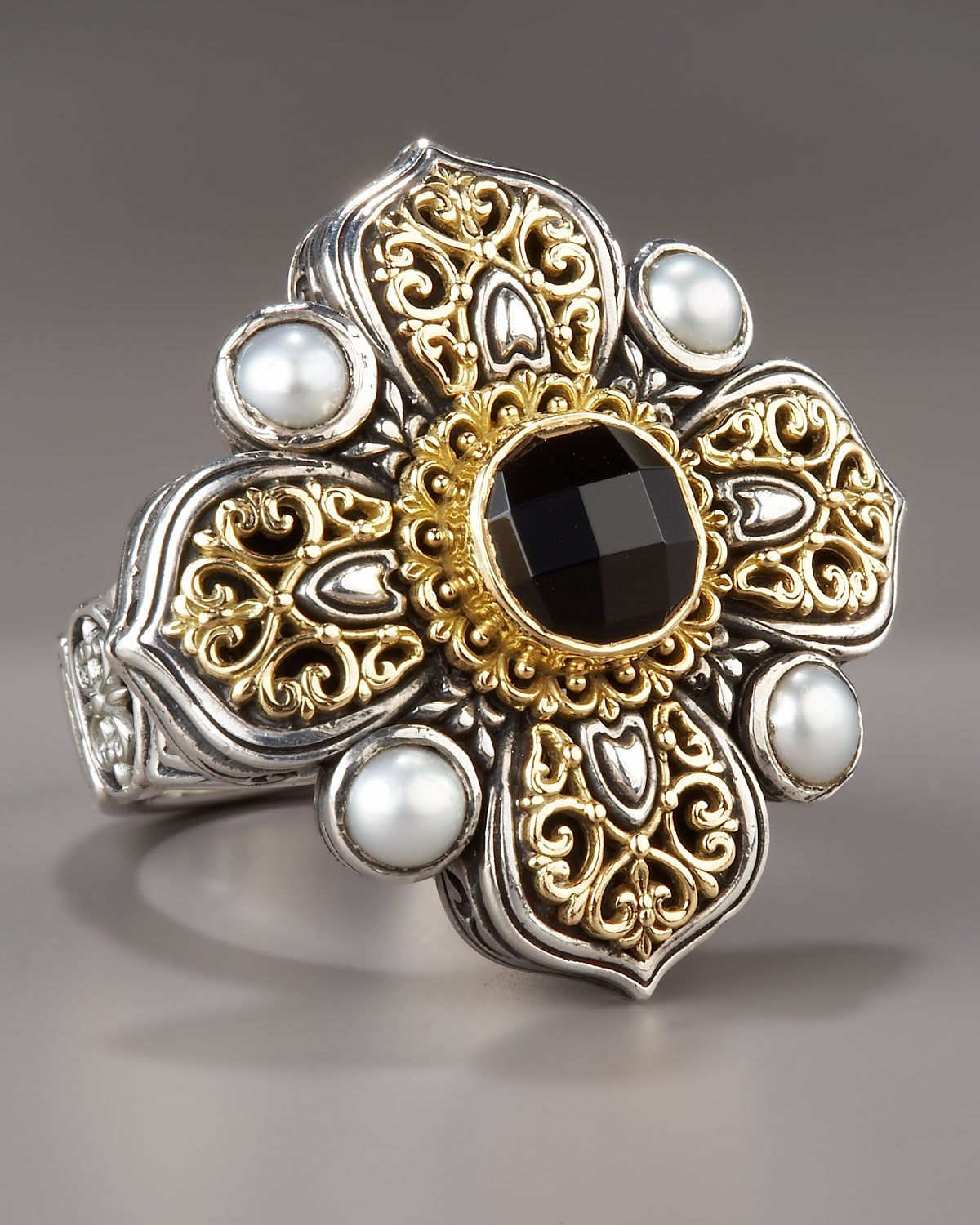 Konstantino Onyx Amp Pearl Cross Ring In Metallic Lyst