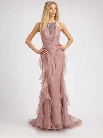 Badgley Mischka Chiffon Gown  - Lyst