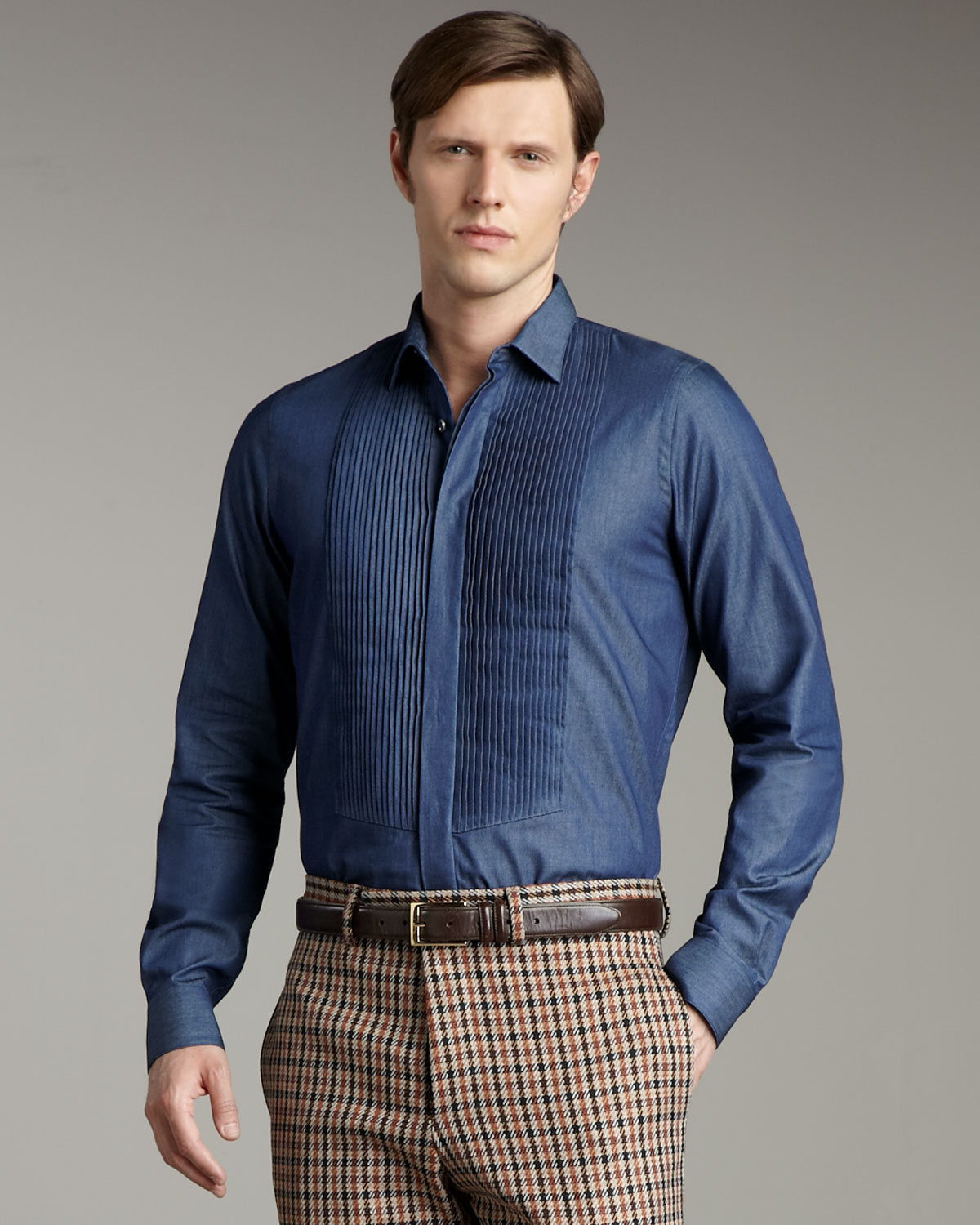 valentino pleated shirt in blue for lyst