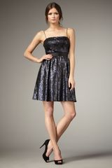Aidan Mattox Sequined Fit-and-flare Dress - Lyst