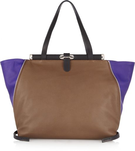 Marni Two-tone Leather Shoulder Bag in Brown - Lyst