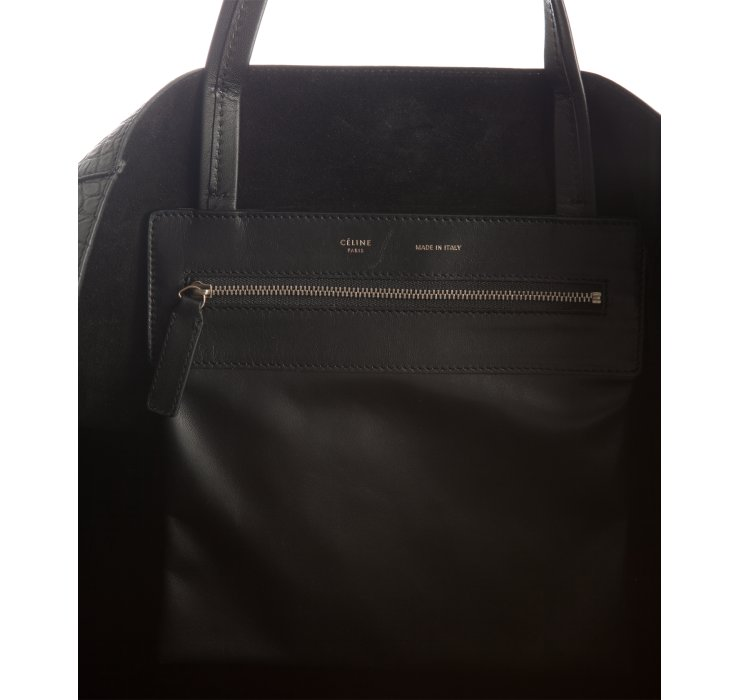 C¨¦line Black Croc Embossed Square Cabas Shopper Tote in Black | Lyst