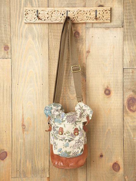 Floral Bucket Bag Washed Bucket Bag in Brown