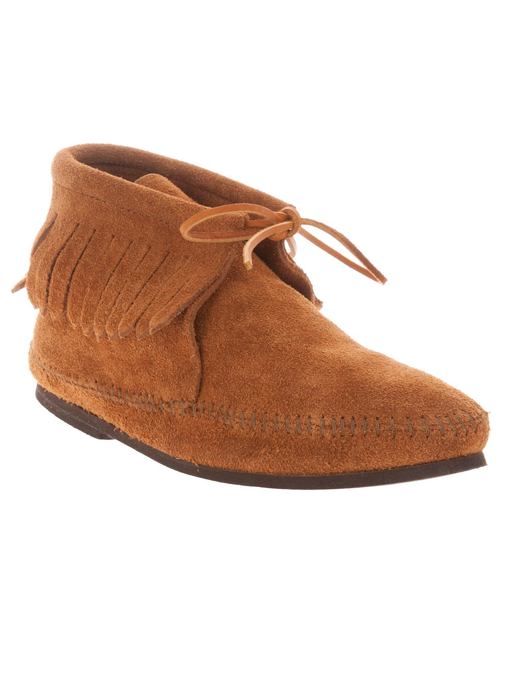 minnetonka suede moccasin boot in brown for lyst