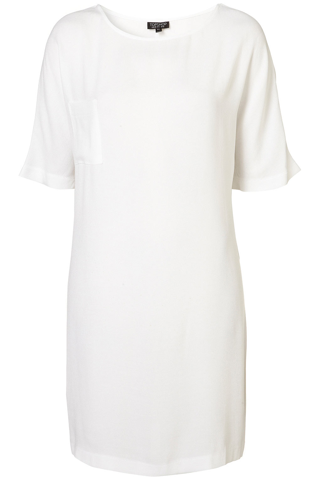 Topshop clean t shirt dress in white lyst for How to clean white dress shirts