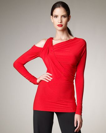 Donna Karan New York Asymmetric Wrap-shoulder Top - Lyst
