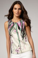 Elie Tahari Jeanna Printed Blouse in Floral (beach rose) - Lyst