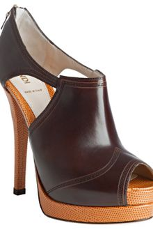 Fendi Chestnut and Caramel Peep Toe Booties - Lyst