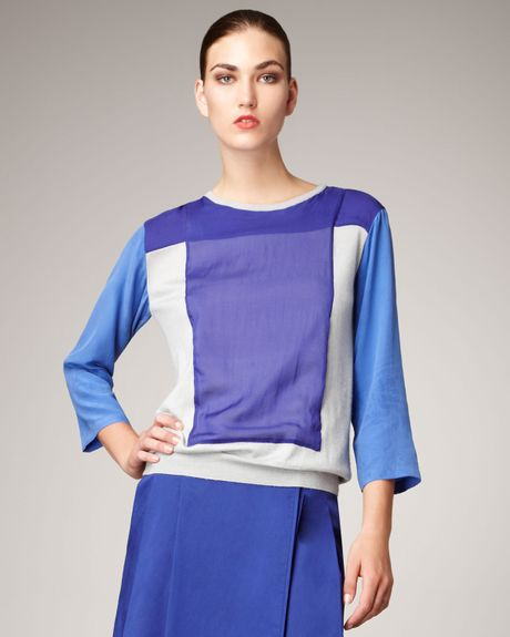 Reed Krakoff Colorblock Combo Sweater in Blue (rk grey sky) - Lyst
