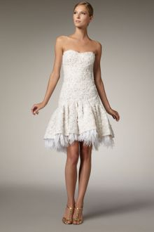 Badgley Mischka Strapless Ribbon Lace Dress - Lyst
