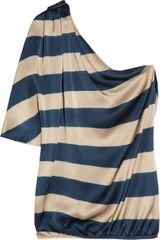 Lanvin Striped Silk-satin One-shoulder Top - Lyst