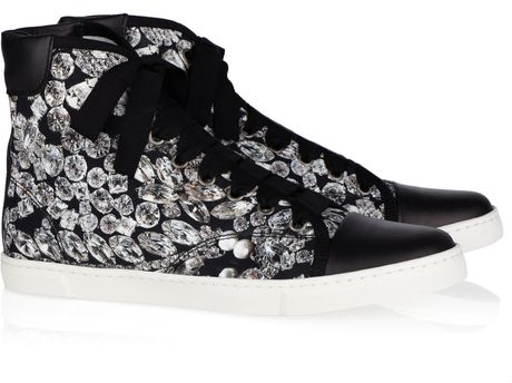 Lanvin Diamond-print Canvas and Leather High-top Sneakers in Black (white) - Lyst