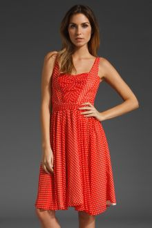 Z Spoke by Zac Posen Polka Dot Chiffon Pintuck Dress - Lyst