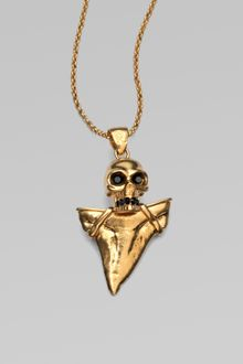 Alexander McQueen Skull & Shark Tooth Pendant Necklace - Lyst