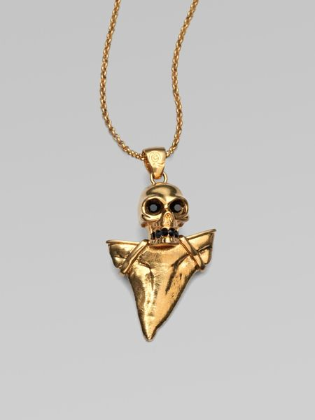 Alexander Mcqueen Skull & Shark Tooth Pendant Necklace in Gold