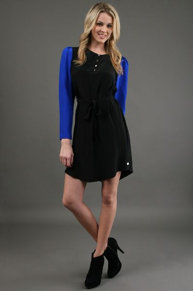 Kimberly Taylor Jean Dress in Black/cobalt in Black - Lyst
