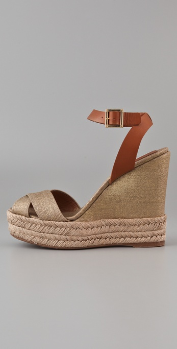 Lyst Tory Burch Criss Cross Ankle Strap Gold Linen