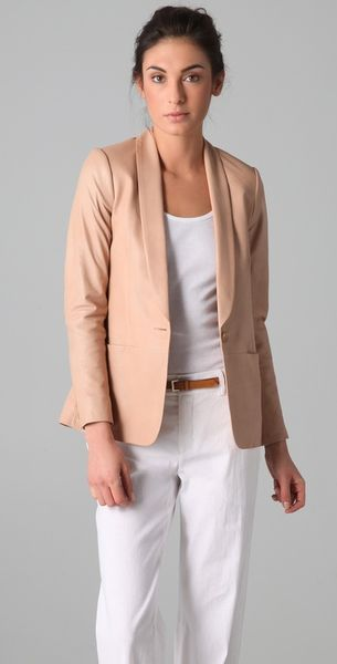 Vince Leather Blazer in Pink (blush) - Lyst