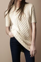 Burberry Brit Long-line Cable Knit Sweater - Lyst