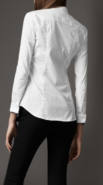 Burberry fitted button down shirt in white lyst for Womens button down shirts fitted
