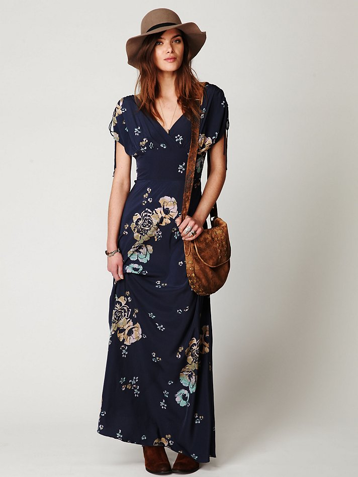 Free people Stardust Short Sleeve Maxi Dress in Blue