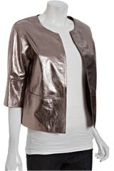 Lafayette 148 New York Leather Ritchie Threequarter Sleeve Jacket in Gray (steel) - Lyst