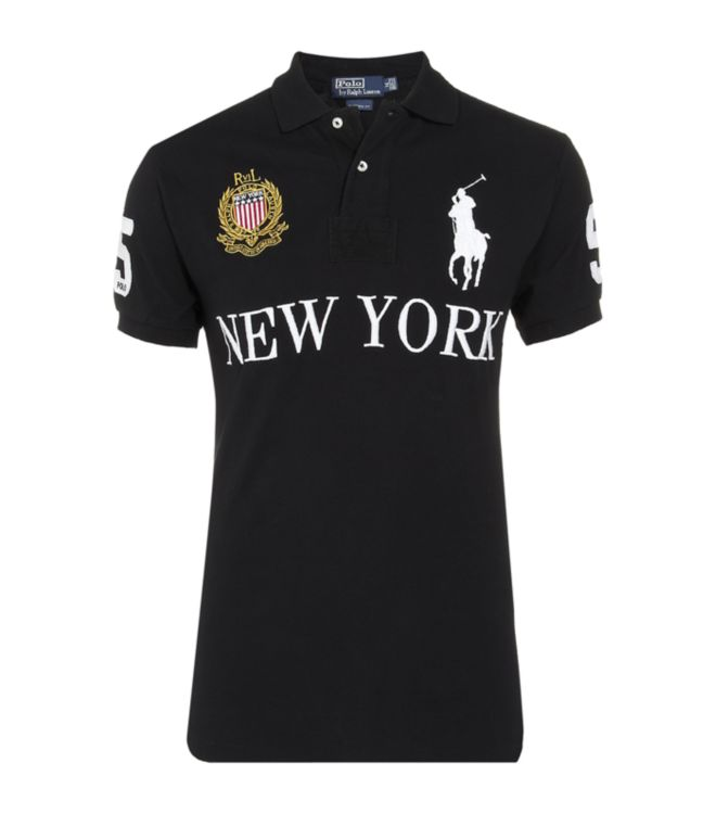 Polo ralph lauren new york custom fit polo shirt in black for Custom dress shirts nyc