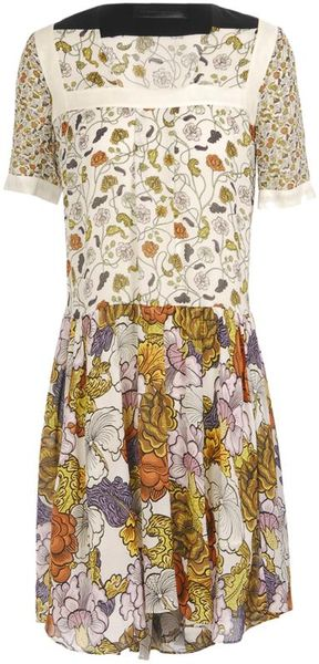Proenza Schouler Floral Printed Silk Georgette Dress in Multicolor (white) - Lyst