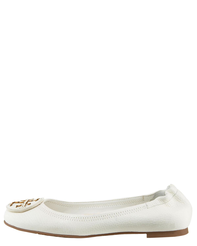 b30d1e82e44 Lyst - Tory Burch Reva - Bleach Leather Ballet Flat in White