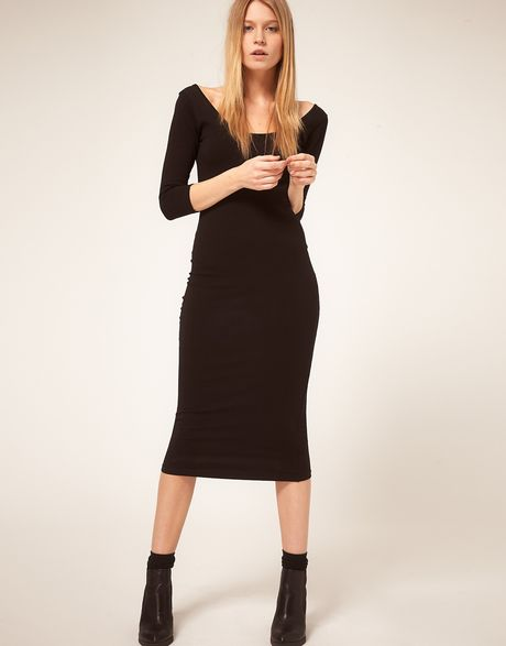 Asos Collection Asos 3 4 Sleeve Midi Bodycon Dress In