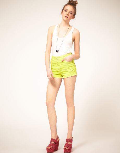 Asos Collection Asos Neon Green High Waist Denim Hotpants in Green (neongreen) - Lyst