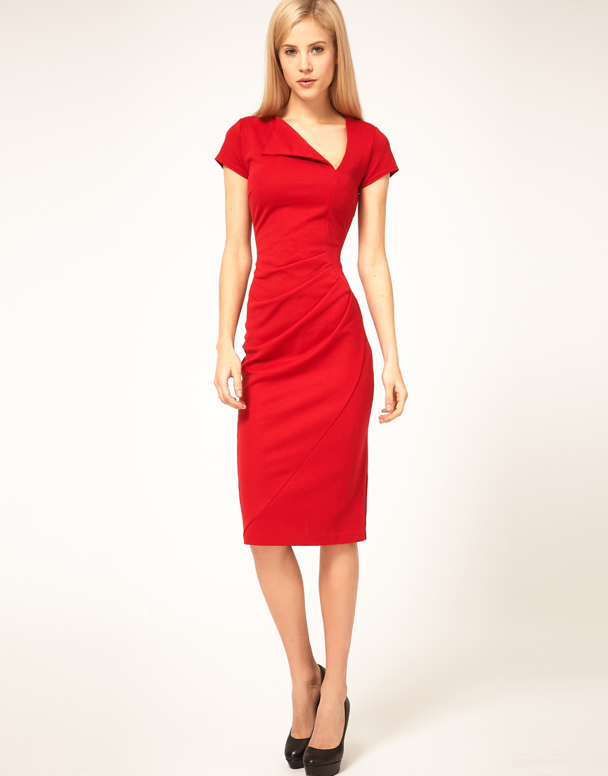 Asos collection Asos Midi Pencil Dress with Pleat Waist in Red | Lyst