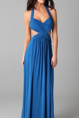 Bcbgmaxazria Jordana Long Cutout Gown in Blue - Lyst