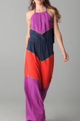 BCBGMAXAZRIA Dee Colorblock Halter Maxi Dress - Lyst