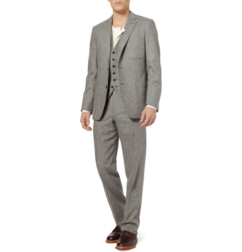 Billy Reid Tweed Wool Suit Jacket In Gray For Men Lyst
