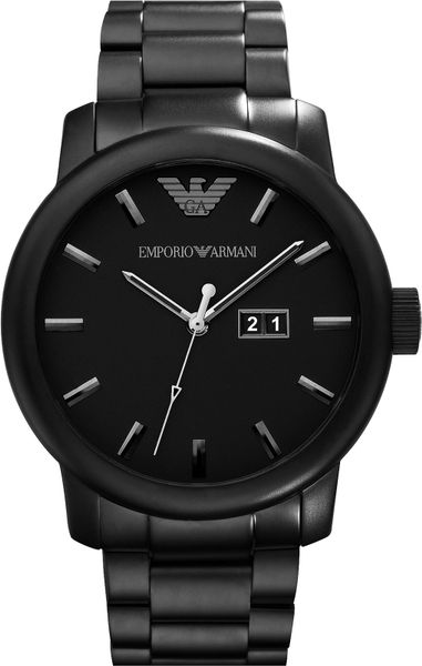 Emporio Armani Oversized Round Bracelet Watch In Black For