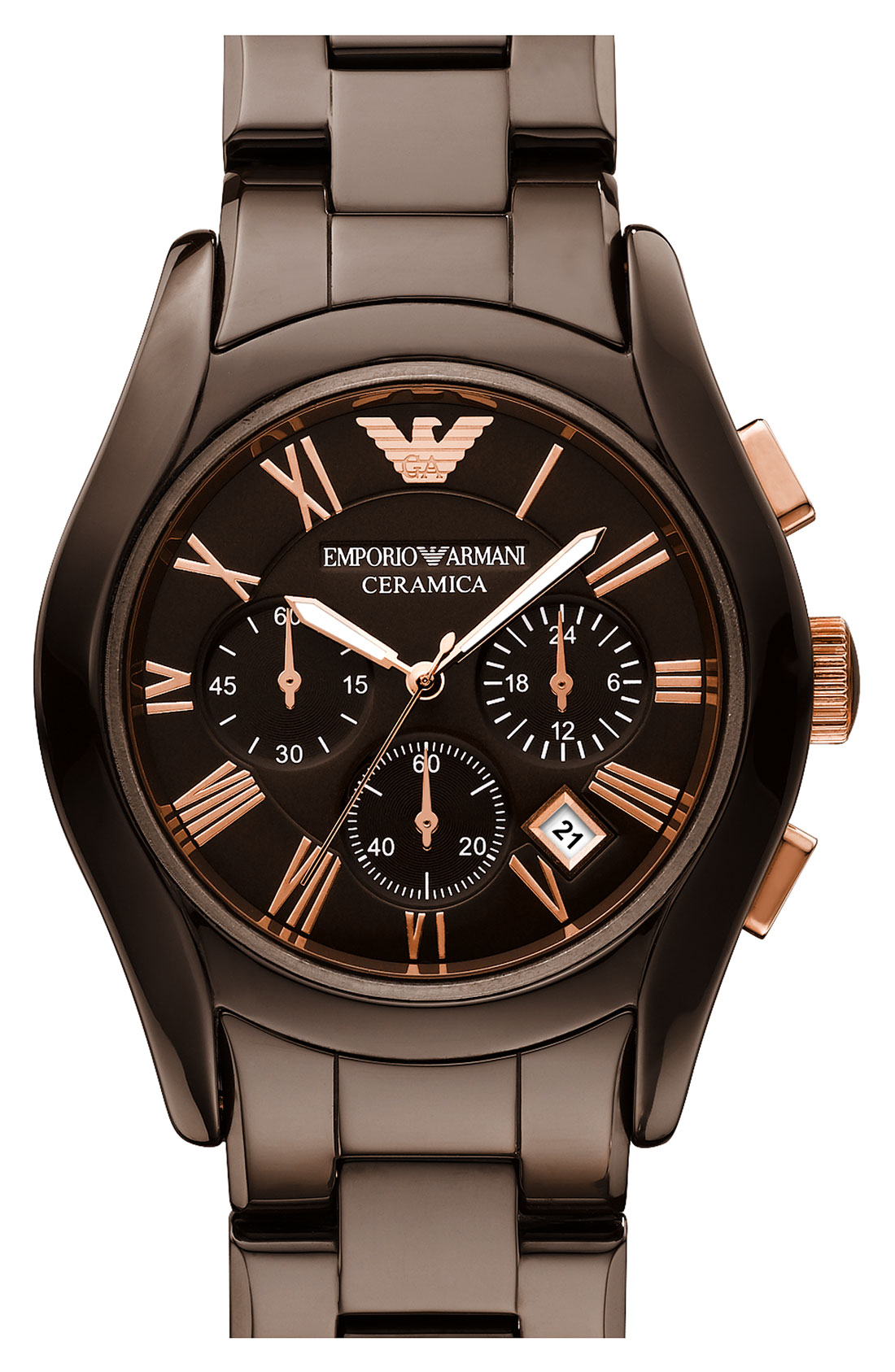 emporio armani ceramic watch in brown for men lyst gallery