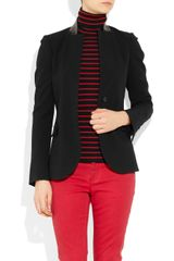 Gucci Woolblend Twill and Leather Jacket in Black - Lyst