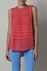 L'agence Washed Chiffon Top in Pink (coral) - Lyst