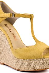 Luxury Rebel Carol Wedge - Mustard - Lyst