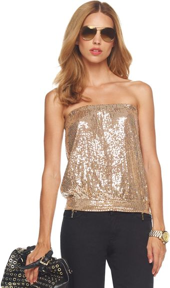 Michael by Michael Kors Sequined Tube Top - Lyst