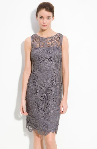 Adrianna Papell Illusion Bodice Lace Sheath Dress - Lyst