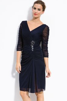 Adrianna Papell Embellished Ruched Mesh Cocktail Dress - Lyst