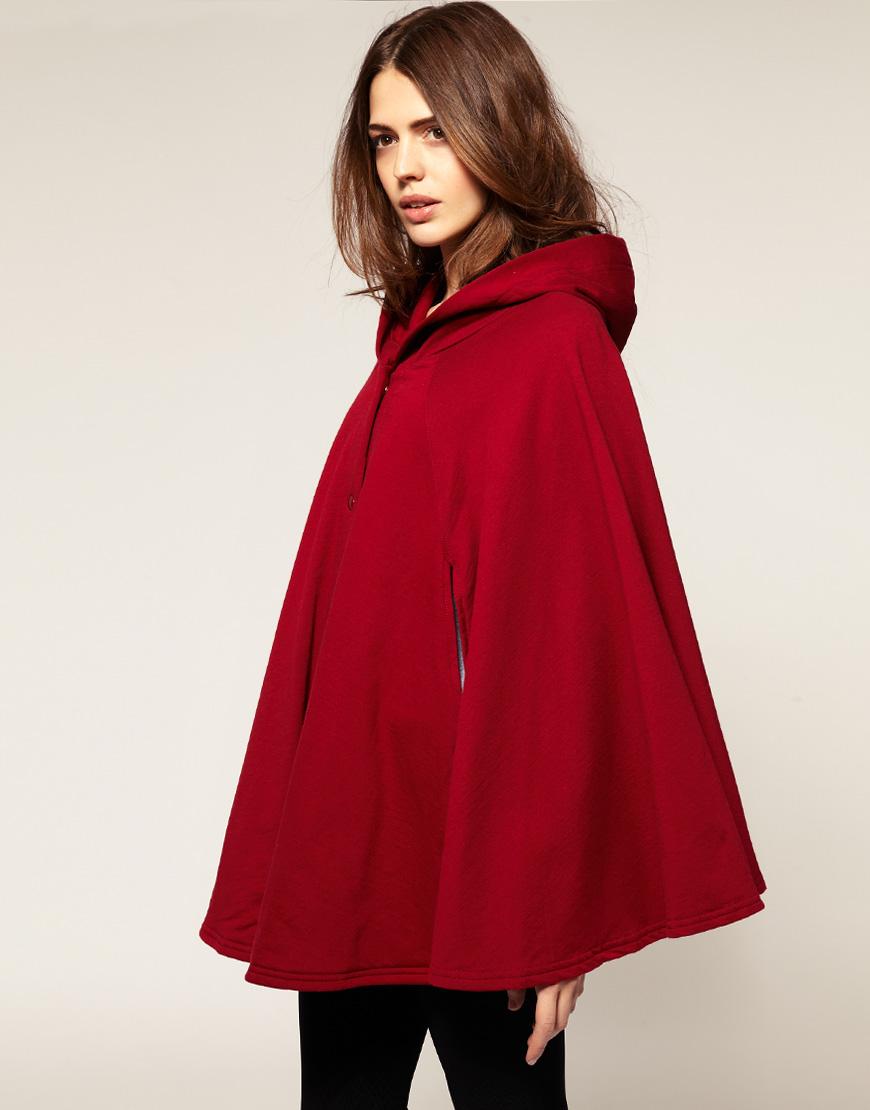 Lyst American Apparel Fleece Cape In Red