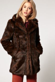 ASOS Collection Asos Faux Fur Coat with Lapel - Lyst