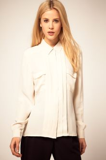 ASOS Collection Asos Blouse with Collar and Pintucks - Lyst